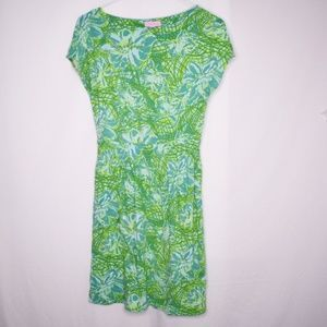 Lilly Pulitzer Green Cap Sleeve Floral Dress Sz S